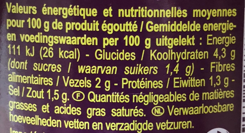 Artichauts Fonds - Informazioni nutrizionali - fr
