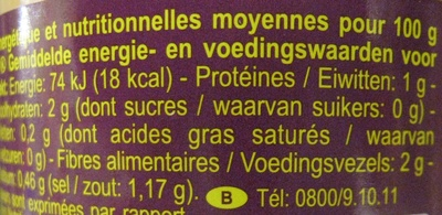 Asperges blanches - Informations nutritionnelles - fr