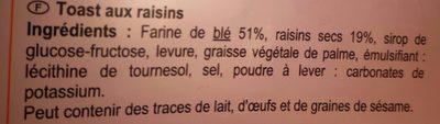 Toasts aux raisins - Ingrédients - fr