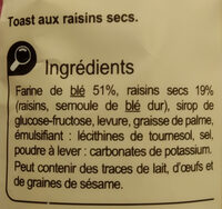 Toast gourmand aux raisins secs - Ingrédients - fr