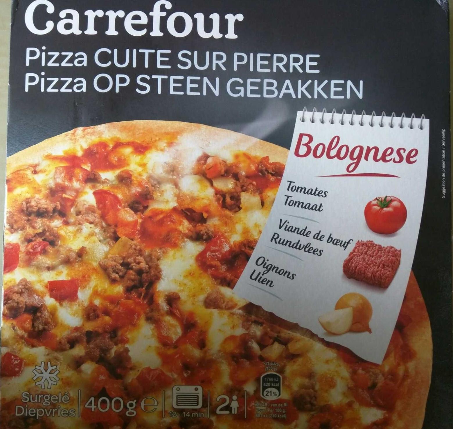 pizza cuite sur pierre bolognese carrefour 400 g. Black Bedroom Furniture Sets. Home Design Ideas