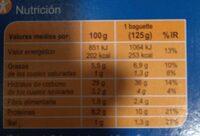 Baguete atún - Informations nutritionnelles - es