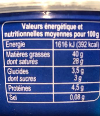 Mascarpone - Información nutricional