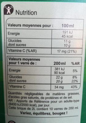 Pour Jus Multifruits - Voedingswaarden - fr