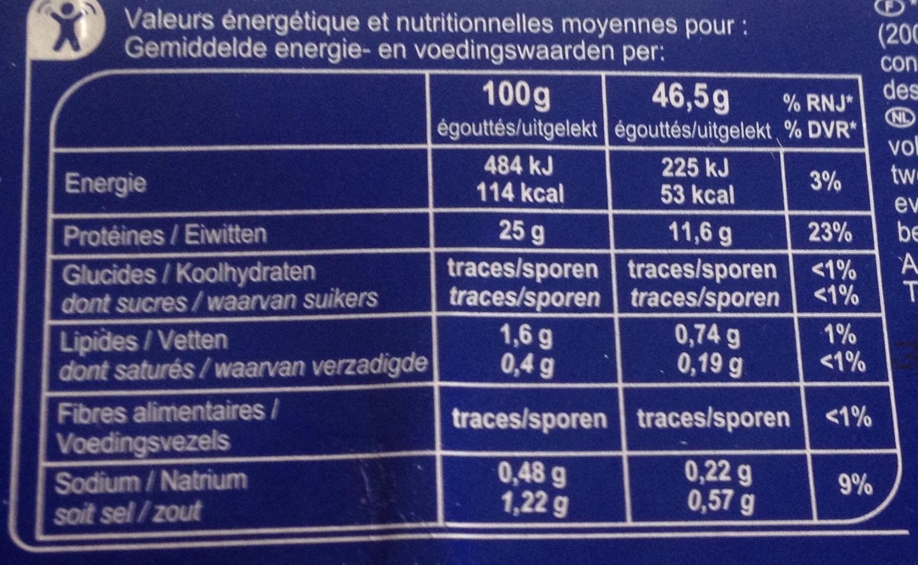 Thon Albacore En tranches - Voedingswaarden