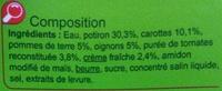 Velouté au  Potiron - Ingrediënten