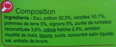 Velouté au Potiron - Ingrédients