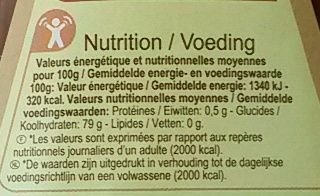 Miel - Nutrition facts - fr