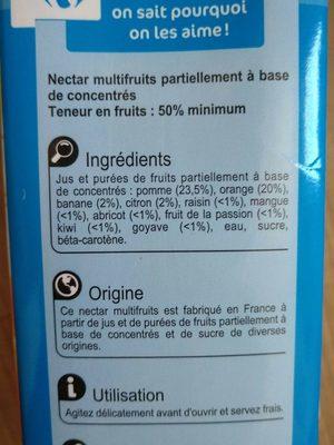 Nectar multivitamine multifruits - Ingrédients - fr