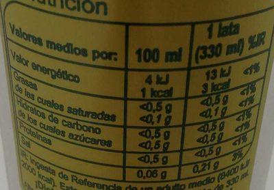 Iced Tea Light sabor Limón - Información nutricional