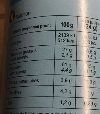 Carrefour tuiles chips - Valori nutrizionali - fr