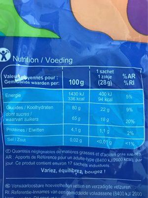 Cola, carrefour - Informations nutritionnelles