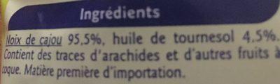 Noix de cajou grillées très pauvres en sel - Ingrédients - fr