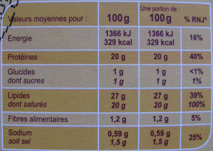 Fromage pour tartiflette (27 % MG) 4/6 personnes - Informations nutritionnelles - fr