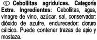 Cebollitas agridulces - Ingredientes - es