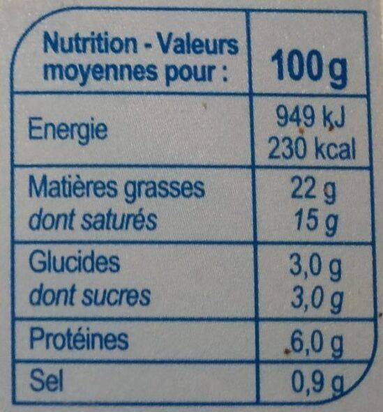 Fromage à tartiner Nature - Voedingswaarden - fr