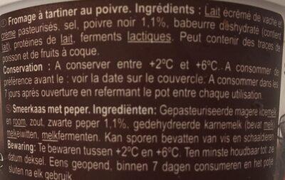 Fromage à tartiner Poivre - Ingredients