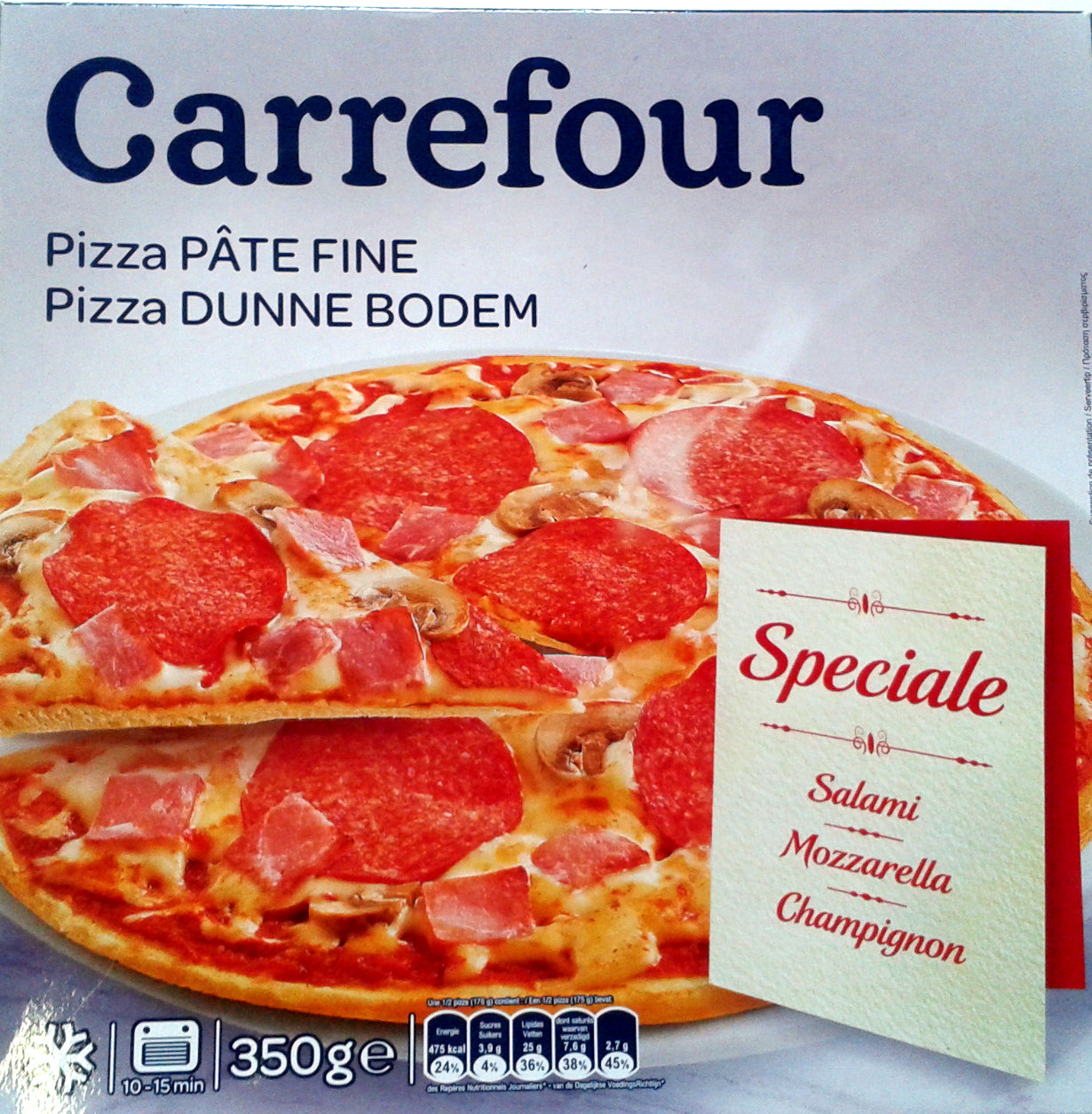 pizza p te fine sp ciale salami mozzarella champignon carrefour 350 g. Black Bedroom Furniture Sets. Home Design Ideas