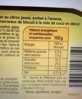 Glace noix de coco, sorbets citron et ananas - Informations nutritionnelles - fr