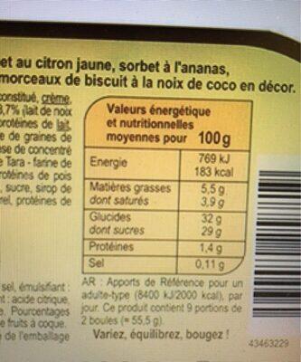 Glace noix de coco, sorbets citron et ananas - Informations nutritionnelles
