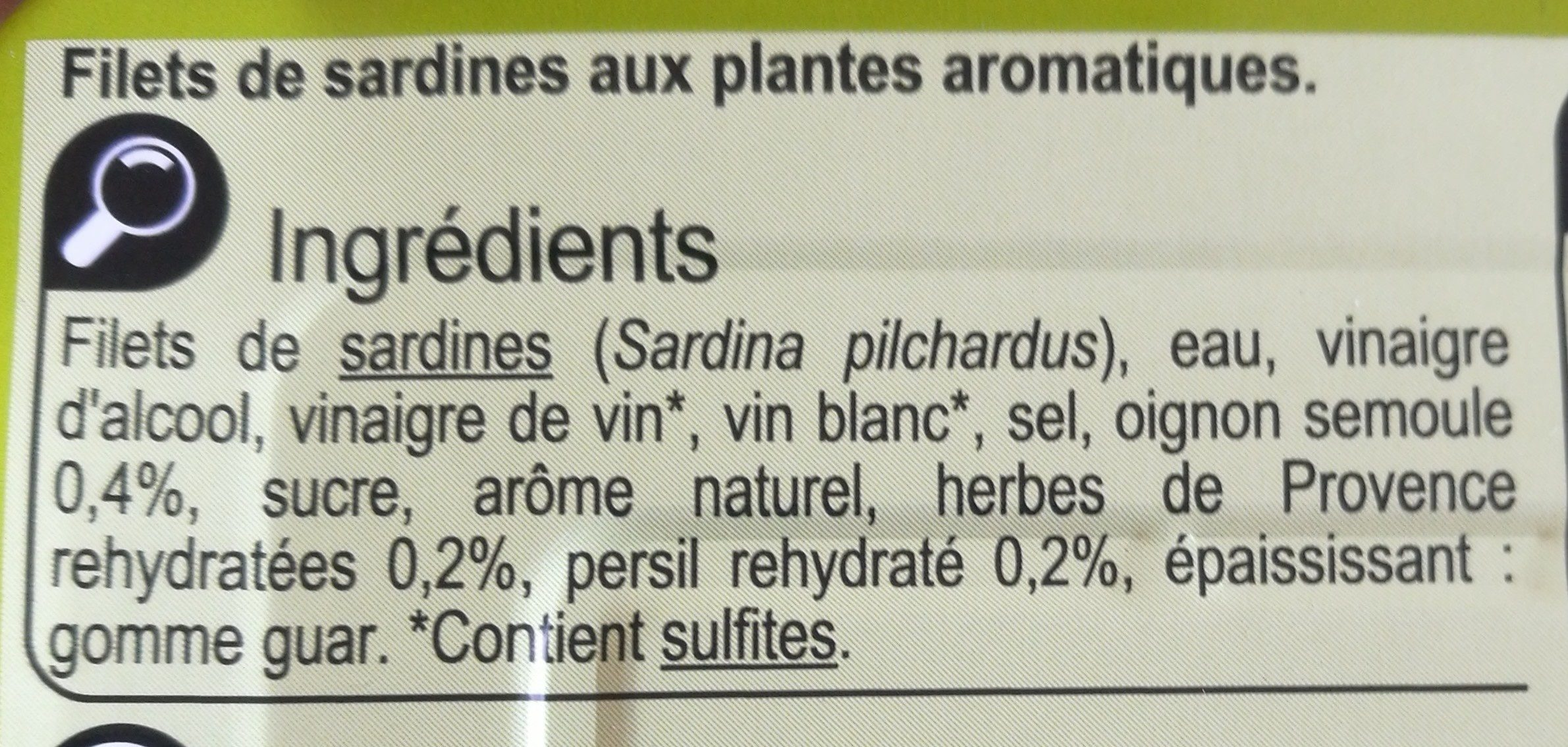 Filets de sardines (aux herbes de Provence) - Ingrediënten