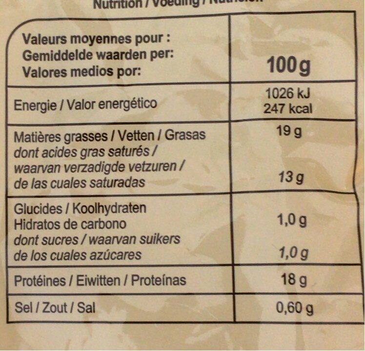 Mozzarella bio carrefour - Nährwertangaben - fr