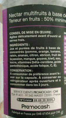 Bocal 1L Nectar Multifruits Saxo - Ingredienti - fr