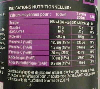 Bocal 1L Nectar Multifruits Saxo - Valori nutrizionali - fr