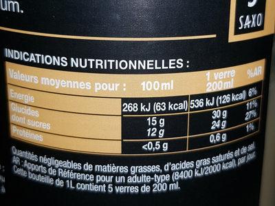 Bocal 1L Nectar Banane Saxo - Valori nutrizionali - fr