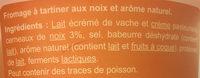 Fromage à tartiner Noix, aromatisé - Ingrédients - fr