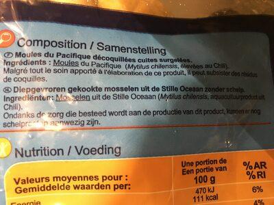 Moules du Pacifique - Ingredientes