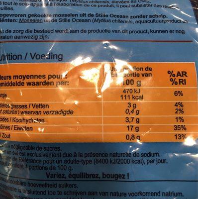 Moules du Pacifique - Información nutricional
