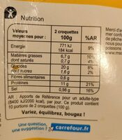 20 Croquettes de poisson - Informations nutritionnelles - fr