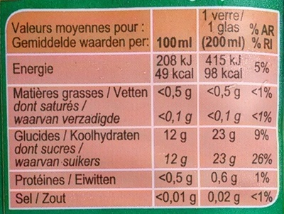 PUR JUS Ananas - Informations nutritionnelles - fr