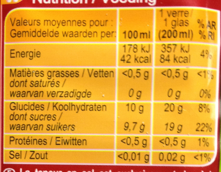 Pomme 100 % Pur Fruit Pressé - Nutrition facts