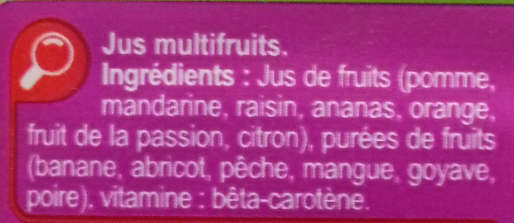 PUR JUS, Multifruits - Ingredients