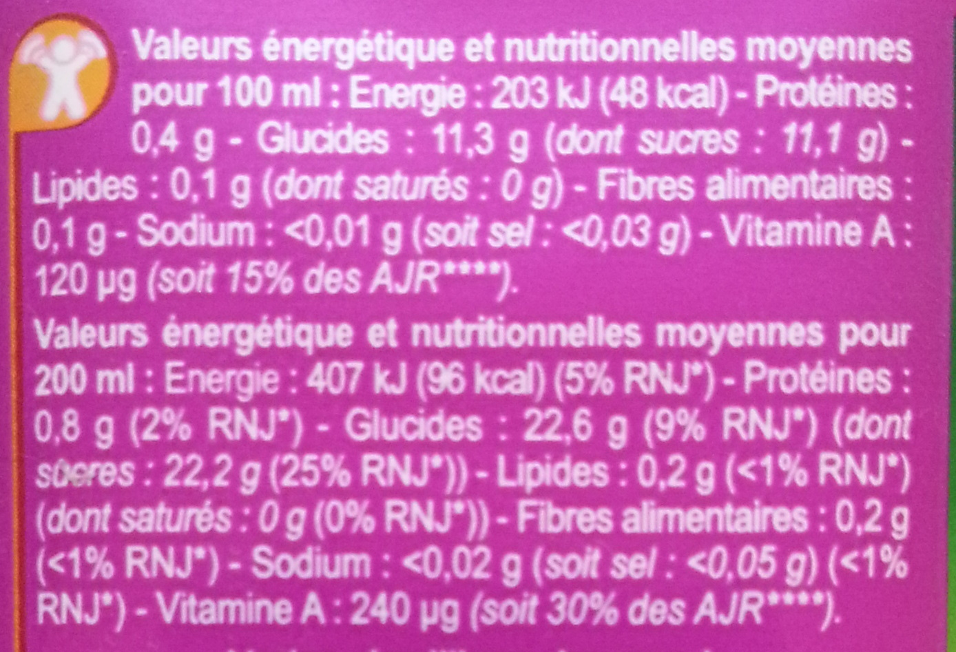 PUR JUS, Multifruits - Nutrition facts
