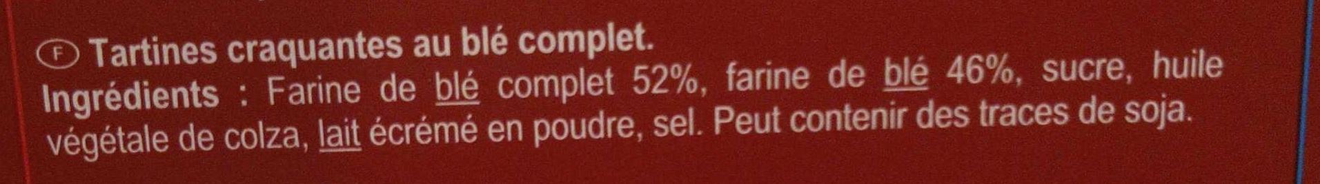 Tartine au blé complet - Ingredients - fr