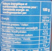 Olives noires entières à la grecque - Informations nutritionnelles