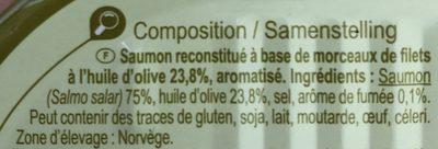 Filet De Saumon Gout Fumé 190gr - Ingredients