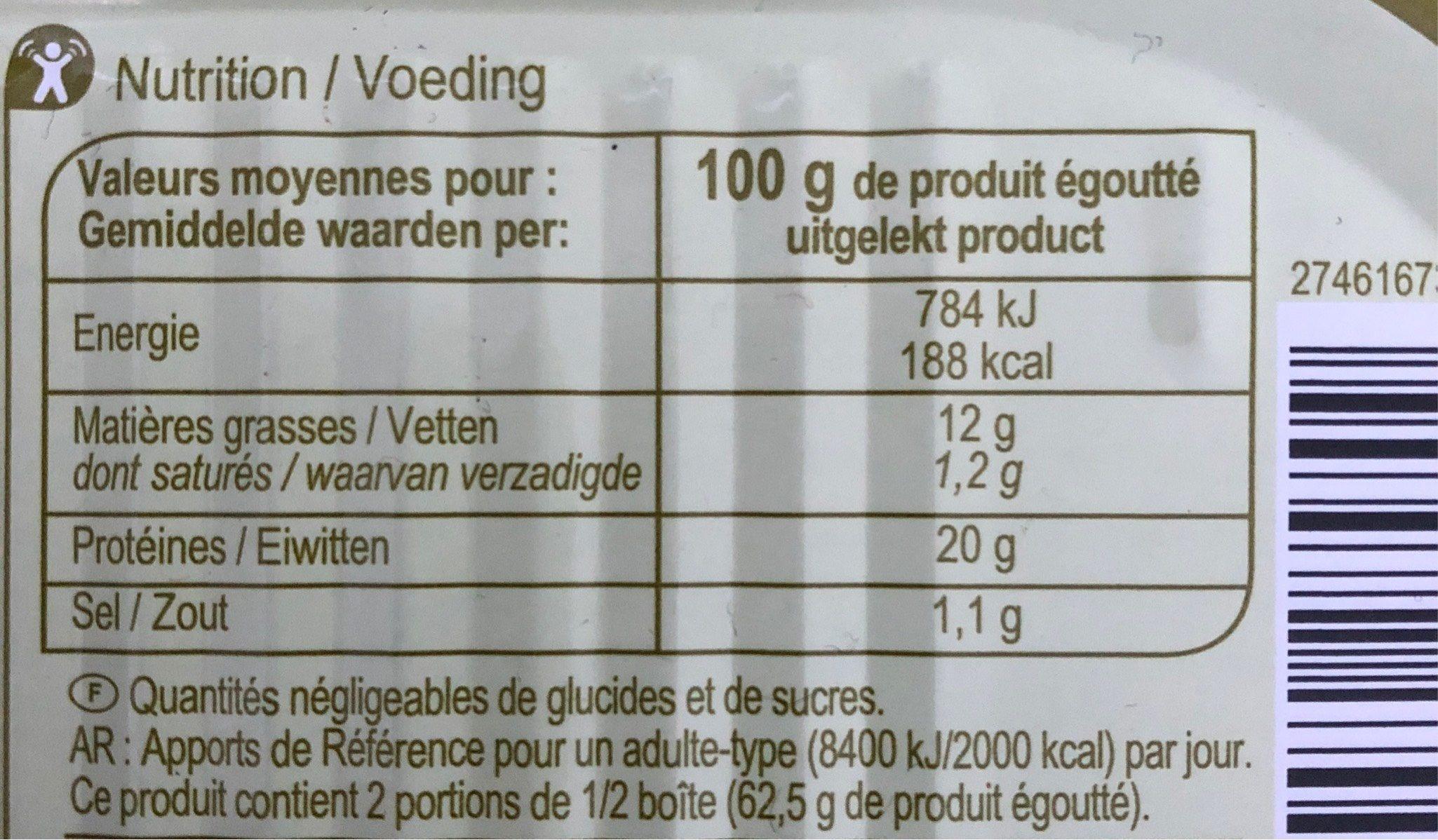 Filet De Saumon Gout Fumé 190gr - Nutrition facts