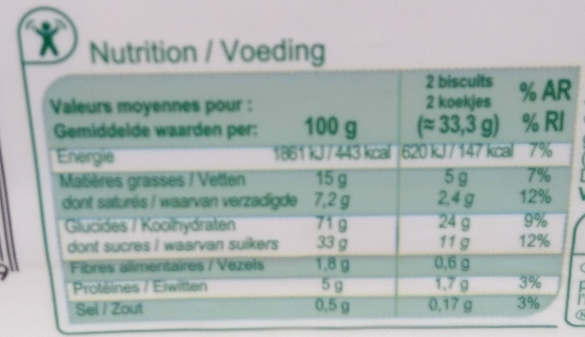 Tartelettes - Nutrition facts - fr