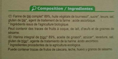 Biscottes complètes - Ingredients
