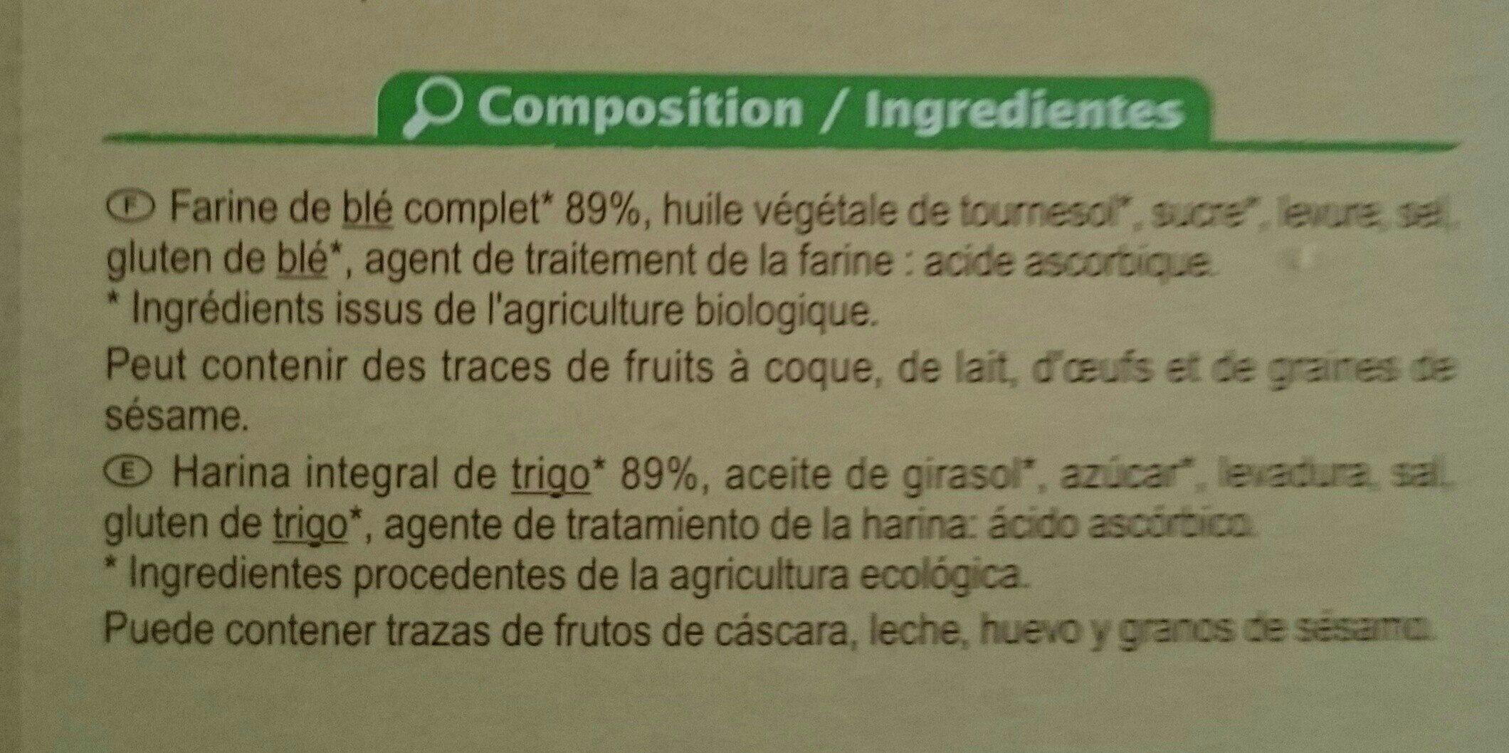 Biscottes complètes bio - Ingrediënten - fr