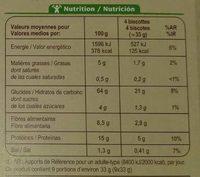 Biscottes complètes - Información nutricional
