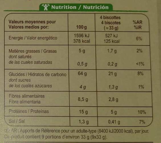 Biscottes complètes bio - Información nutricional