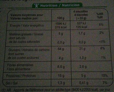 Biscottes complètes bio - Voedingswaarden - fr