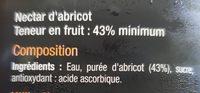 Abricot, Nectar d'abricot - Ingrédients - fr
