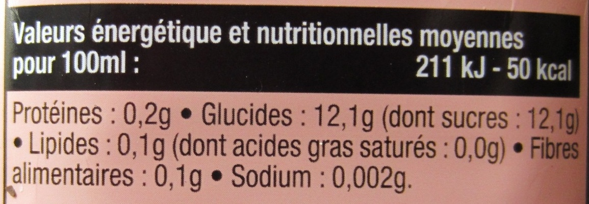 Abricot, Nectar d'abricot - Informations nutritionnelles - fr