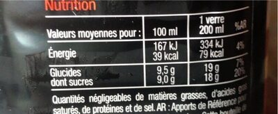 Jus Fraise - Informations nutritionnelles - fr